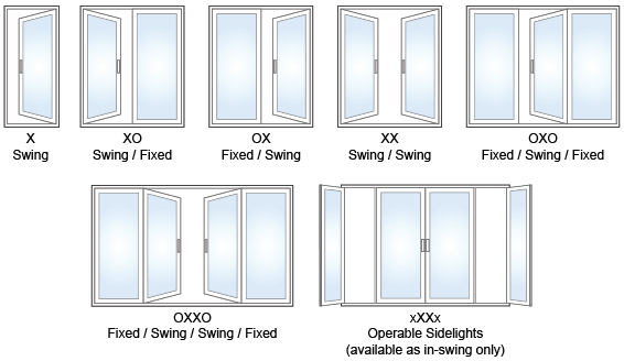 (All Swing Doors Can Be In Swing Or Out Swing As An Option. Sidelights Can  Be Operable, Opening Inward, And With Screens On The Outside)